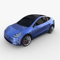 Tesla Model Y Blue 3D Model