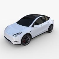 Tesla Model Y White 3D Model