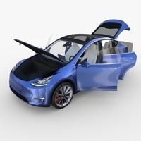 Tesla Model Y Blue with interior 3D Model