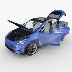 Tesla Model Y AWD Blue with interior and chassis 3D Model