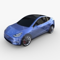 Tesla Model Y AWD Blue with chassis 3D Model