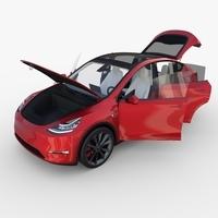 Tesla Model Y Red with interior 3D Model