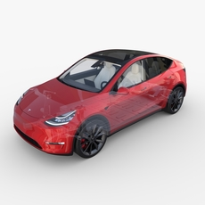 Tesla Model Y RWD Red with interior and chassis 3D Model
