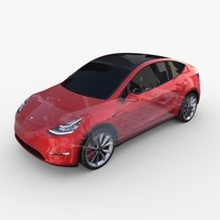 Tesla Model Y AWD Red with chassis 3D Model