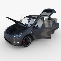 Tesla Model Y Midnight Silver with interior 3D Model