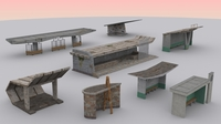 Monumental Soviet Bus Stops Pack 3D Model