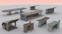 Monumental Soviet Bus Stops Pack 3D Model