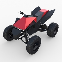 Tesla Cyberquad ATV Red 3D Model
