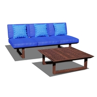 Wooden Three Seater Sofa 3D Model