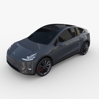 Tesla Model Y AWD Midnight Silver with chassis 3D Model