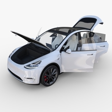 Tesla Model Y White with interior 3D Model