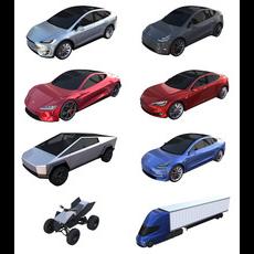 Full Tesla 2020 Vehicle Lineup 3D Model