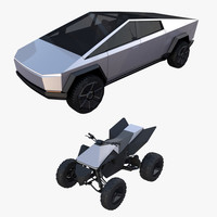 Tesla Cybertruck and Cyberquad Pack 3D Model
