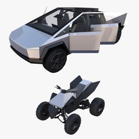 Tesla Cybertruck and Cyberquad Pack with interior 3D Model