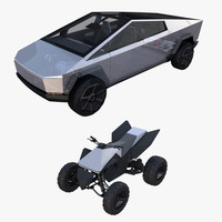 Tesla Cybertruck and Cyberquad Pack with interior and chassis 3D Model