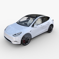Tesla Model Y AWD White with interior and chassis 3D Model