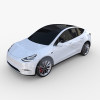Tesla Model Y AWD White with chassis 3D Model