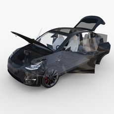 Tesla Model Y AWD Black with interior and chassis 3D Model
