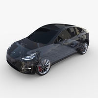 Tesla Model Y AWD Black with chassis 3D Model