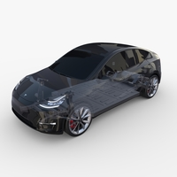 Tesla Model Y RWD Black with chassis 3D Model