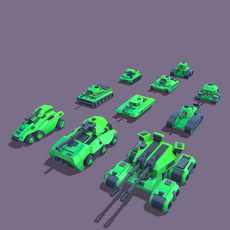 Stylized tanks pack Low-poly 3D Model