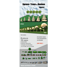 Lowpoly Trees Spruce Bushes Stones Pack 3D Model