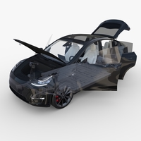 Tesla Model Y RWD Black with interior and chassis 3D Model