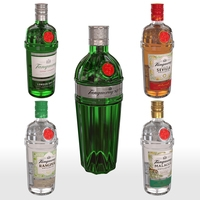 Tanqueray 70cl Bottle Set 3D Model