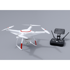 White drone with remote control 3D Model