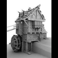 Water mill  model 3D Model