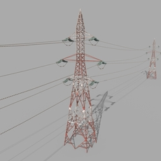 Electricity Pole 32 Weathered 3D Model