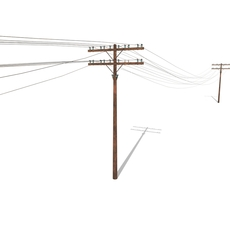 Electricity Pole 33 Weathered 3D Model
