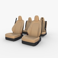 Tesla Model Y Seats Cream 3D Model