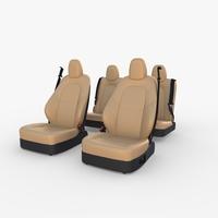 Tesla Model Y Seats Cream 3D Model