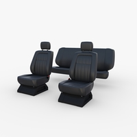Generic Car Seats Black 3D Model