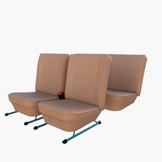 Generic Brown Leather Seats v2 3D Model