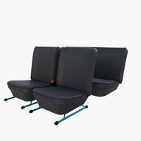 Generic Black Leather Seats v2 3D Model
