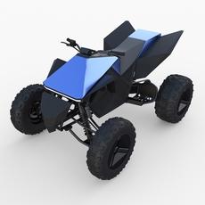 Tesla Cyberquad ATV Blue 3D Model