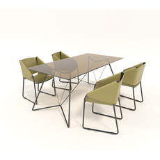 Contemporary Design Table and Chair Set 3D Model