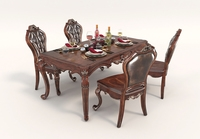 European Style Dinning Table Chair Set 3D Model