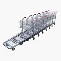Shopping cart stack v1 3D Model