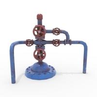 Oil Pumpjack Wellhead Weathered 1 3D Model