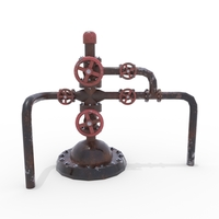 Oil Pumpjack Wellhead Weathered 2 3D Model