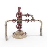 Oil Pumpjack Wellhead Weathered 3 3D Model