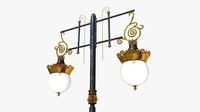 Cast iron antique street light crown with 2 luminaries 3D Model