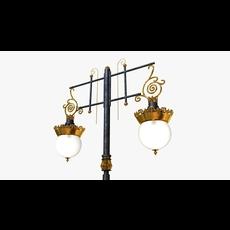 Cast iron antique street light crown with 2 luminaries 3D Model