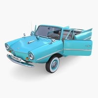 Amphicar 770 Blue w Interior 3D Model