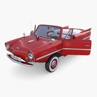 Amphicar 770 Red w Interior 3D Model
