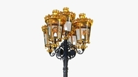 Cast iron antique street light crown with 5 luminaries 3D Model