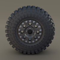 Tibus Offroad Wheel w Maxxis Trepador Tire 3D Model